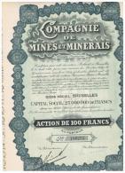 ACCION ANTIGUA - ACTION ANTIQUE = Compagnie De Mines Et Minerais  1928 - Acciones & Títulos
