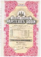 ACCION ANTIGUA - ACTION ANTIQUE = Papeteries Godin 1944 - Acciones & Títulos