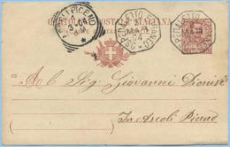 1904 ASCOLI PICENO C.P. C. 10 OTTOGONALE DI COLLETTORIA SPLENDIDAMENTE IMPRESSO OSPEDALETTO EUGANEO 3.3.04 (5678) - 6. 1946-.. Repubblica