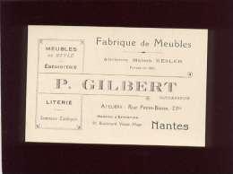 44 Nantes Fabrique De Meubles P.gilbert Rue Petite Biesse & Bd Victor Hugo Carte De Visite - Cartes De Visite