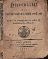 Valais Wallis 1808 ; Hirtenbrief Des Hochwürdigten Bischofs Von Sitten Joseph Xavier; Couv + Seiten 7 - 27 - Livres, BD, Revues