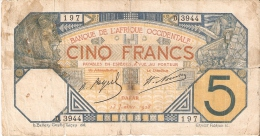 BILLETE DE SENEGAL DE 5 FRANCS DEL AÑO 1928  (BANKNOTE)  RARO - Senegal