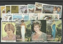"""Lot De 25 Timbres Thematique """" Lady Diana"""" - Célébrités"""