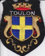ECUSSON TISSU BRODE TOULON VAR  BLASON ARMES HERADIQUE - Blazoenen (textiel)