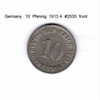 GERMANY    10  PFENNIG  1913 A   (KM # 12) - [ 2] 1871-1918 : German Empire