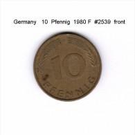 GERMANY    10  PFENNIG  1980 F   (KM # 108) - 10 Pfennig