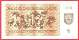 Lithuania -  1 Talonas  1992 UNC / Papier Monnaie - Billet - Lituanie - Lituanie