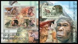 GUINEA BISSAU 2012 - Prehistoric Humans - Mi 5977-80 + B1058, YT 4378-81 + BF787 - Fossielen