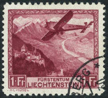 Liechtenstein C6 Used 1fr High Value Of Airmail Set From 1930 - Air Post