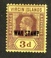 213 X)  Br. Virgin Is. 1916  SG.79a -sc MR2-lemon    M* - British Virgin Islands