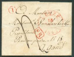 LSC De LEUZE Le 13 Août 1842 + Boîte T De BLICQUY Vers Gand. Port De ´4´ Décimes.  TB - 9203 - 1830-1849 (Belgique Indépendante)