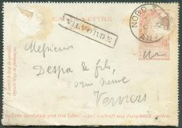 E.P. Carte-lettre 10 Centimes Brun-rouge, Obl. Sc Ambulant NORD 3/ANVERS Du 7 Octobre 1895 + Griffe D'origine VILVORDE V - Postbladen