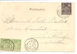 N°Y&T 103 +102X2CP PRECURSEUR  BLERE Vers LA FLECHE Le  02 FEVRIER1901 ((2 Scans) - Marcophilie (Lettres)