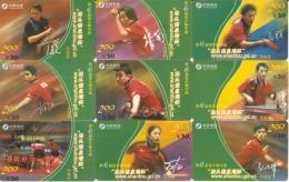 LOTE DE 9 TARJETA DE CHINA DE PING-PONG (TABLE TENNIS) - China