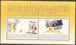 COCOS (KEELING) IS.  - 1984 Integration With Australia S/S MNH **  SG MS125  Sc 125 - Cocos (Keeling) Islands