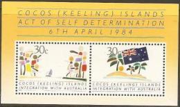 COCOS (KEELING) IS.  - 1984 Integration With Australia S/S MNH **  SG MS125  Sc 125 - Kokosinseln (Keeling Islands)