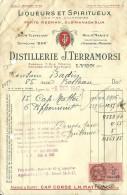 FACTURE LIQUEURS ET SPIRITUEUX  DISTILLERIE J. TERRASMORSI PORTO REDMAN OLDMANARUM LYON 69003 10/1947 - Alimentaire