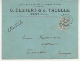 BLANC SUR LETTRE A EN TETE DE BRIVE (CORREZE) DU 20/11/1903 - Marcophilie (Lettres)