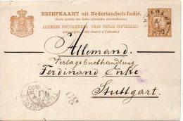 INDES NEERLANDAISES ENTIER POSTAL POUR L'ALLEMAGNE 1890 - Niederländisch-Indien