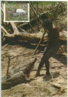 Brésil Reptile Caïman Chasse Carte Maximum Brazil Caiman Maxicard Hunting - Reptiles & Batraciens