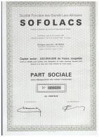 ACCION ANTIGUA - ACTION ANTIQUE = SOFOLACS  1961  Congo - Acciones & Títulos