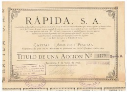 ACCION ANTIGUA - ACTION ANTIQUE = Rapida SA 1923 - Acciones & Títulos