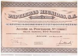 ACCION ANTIGUA - ACTION ANTIQUE = Papeleras Reunidas Alcoy - Alicante 1977 - Acciones & Títulos