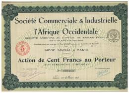ACCION ANTIGUA - ACTION ANTIQUE = Societe Comerciale & Industrielle De L'Afrique Occidentale 1918 - Acciones & Títulos