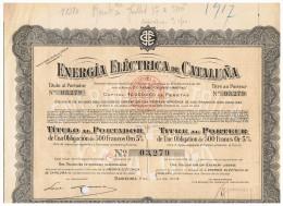 ACCION ANTIGUA - ACTION ANTIQUE = Energia Electrica De Cataluña 1914 - Acciones & Títulos