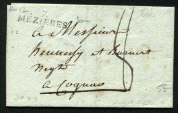 ARDENNES: Pli De MEZIERES De 1804 En Port Du Avec Marque Postale Linéaire  7 MEZIERES  > COGNAC - Marcophilie (Lettres)