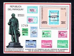 PARAGUAY.,  1980  Rowland Hill    Mi  # 5 Bl 350 , Cv  25 ,00 E , ** M N H , V V F - Paraguay