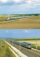 MARNE (51) TGV EST  - Lot De 2 CPM -  Tous Les Détails Sur Le 2 ème Scan - Trains