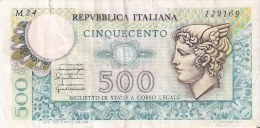 BILLETE DE ITALIA DE 500 LIRAS DEL AÑO 1976 -MEDUSA  (BANKNOTE) - 500 Liras