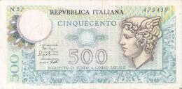 BILLETE DE ITALIA DE 500 LIRAS DEL AÑO 1979 -MEDUSA  (BANKNOTE) - 500 Liras