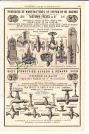 PUB 1882 Fonderie Robinetterie Thévenin Frères Fabrique Robinets Herbepin Martel Bousselet Fonderie De Fer Alexis LEPET - Publicités