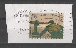 ITALIA REPUBBLICA 150° CLUB ALPINO ITALIANO  € 0,70  2013  SU FRAMMENTO USATO - 6. 1946-.. Repubblica