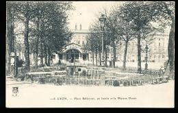 69 LYON 02 / Place Bellecour, Un Bassin Et La Maison Dorée / - Lyon