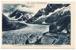 CP, 74, CHAMONIX-MONT-BLANC, La Mer De Glace Et La Gare Du Montenvers, Vierge - Chamonix-Mont-Blanc