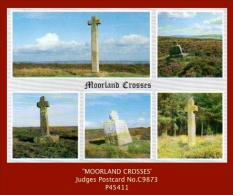 "P4411  ""Moorland Crosses""  (1970's. Colour Photogravure Multi-view Postcard) - England"