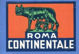 VINTAGE LUGGAGE LABEL ** ANCIENNE ETIQUETTE HOTEL  DE BAGAGE  ** ROMA ROME CONTINENTALE - Etiquettes D'hotels