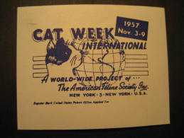 New York 1957 CAT Week Cats Feline USA Poster Stamp Label Vignette Viñeta Cinderella - Domestic Cats