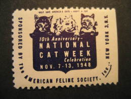 New York 1948 CAT Week Cats Feline USA Poster Stamp Label Vignette Viñeta Cinderella - Domestic Cats