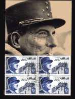 France - 1970 - Yvert 1639 - Bloc De 4 Timbre Du Général De Lattre Su Carte Max 1er Jour 8/5/1970 - Cartoline Maximum