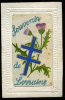 Cpa Carte Brodée Souvenir De Lorraine , Croix De Lorraine    6ao6 - Embroidered