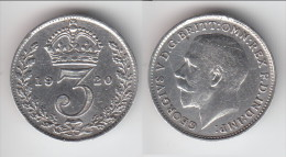 **** GRANDE-BRETAGNE - GREAT-BRITAIN - 3 PENCE 1920 - THREE PENCE 1920 GEORGE V - SILVER **** EN ACHAT IMMEDIAT !!! - F. 3 Pence