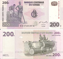 Congo P95A, 200 Francs, Man & Woman With Hoes / Log Drum - Congo