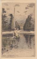 CPA VIENNA- SCHIMBRUNN PALACE, FOUNTAIN, DRAWING - Château De Schönbrunn
