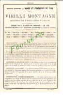 PUB 1882 Métaux Laveissière Rue De La Verrerie à Paris Mine Et Fonderie De Zinc De La Vieille Montagne St Paul De Sinçay - Publicités