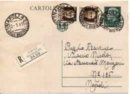 1941 Italia Italien Italie Intero Raccomandato Imp C15 Vg Napoli Entier Recommande R-Ganzsache - 1900-44 Vittorio Emanuele III