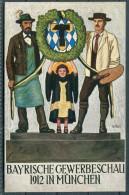 Germany Munich Munchen, Bayrische Gewerbeschau 1912 - MÌnchner Kindl Und MÀnner Halten Einen Kranz Mit Wappen - Exhibitions